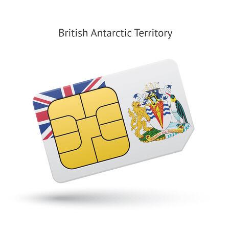 the antarctic: British Antarctic Territory mobile phone sim card with flag. Vector illustration.