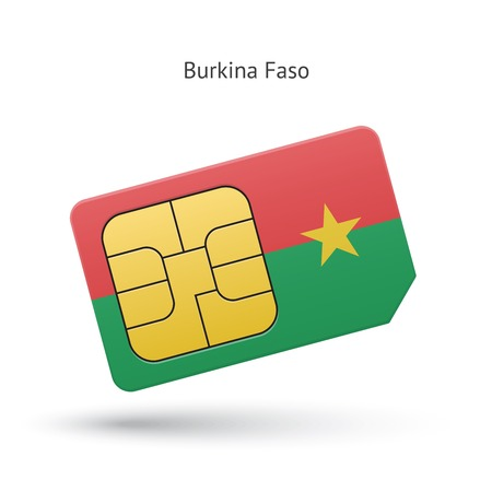 Burkina Faso mobile phone sim card with flag. Vector illustration. Vector