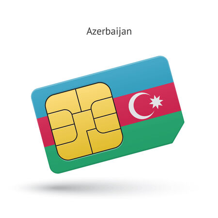 Azerbaijan mobile phone sim card with flag. Vector illustration. Vector