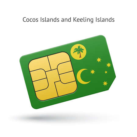 cocos: Cocos and Keeling Islands mobile phone sim card with flag. Vector illustration. Illustration