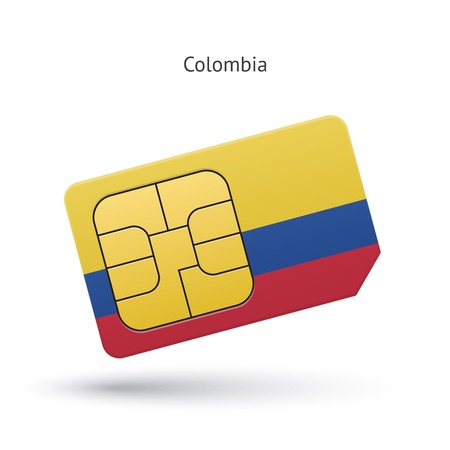 Colombia mobile phone sim card with flag. Vector illustration.