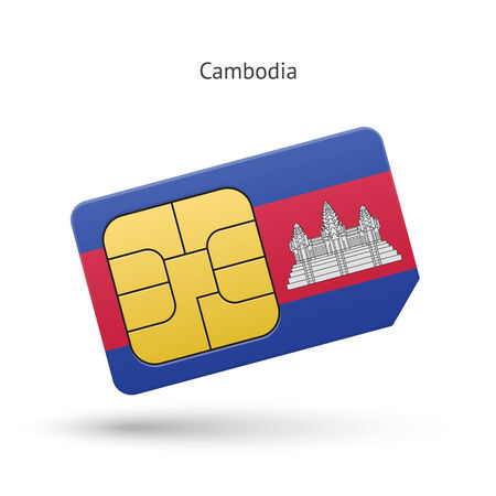 Cambodia mobile phone sim card with flag. Vector illustration. Vector