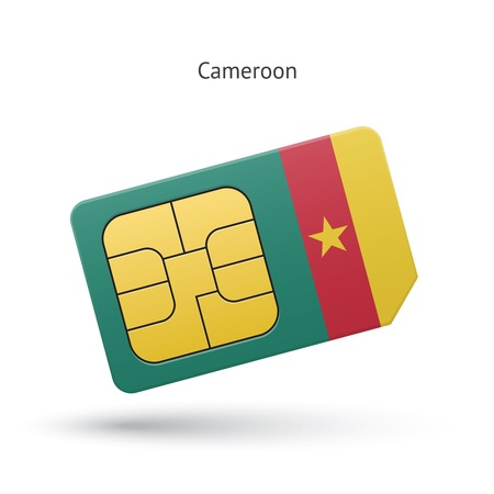 simcard: Cameroon mobile phone sim card with flag. Vector illustration.