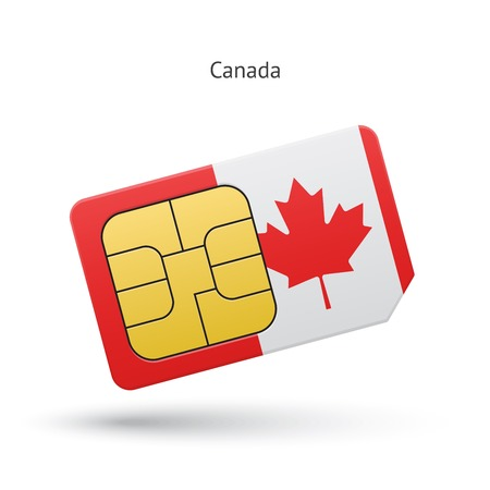 sim: Canada mobile phone sim card with flag. Vector illustration.