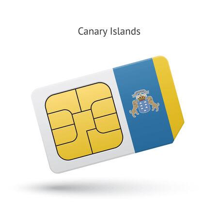 Canary Islands mobile phone sim card with flag. Vector illustration. Vector