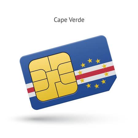 cape verde: Cape Verde mobile phone sim card with flag. Vector illustration.