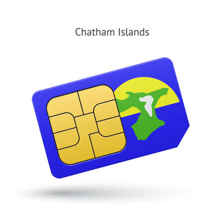 simcard: Chatham Islands mobile phone sim card with flag. Vector illustration.