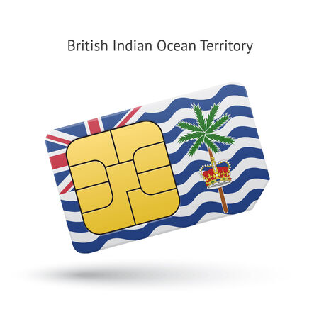 simcard: British Indian Ocean Territory mobile phone sim card with flag. Vector illustration.