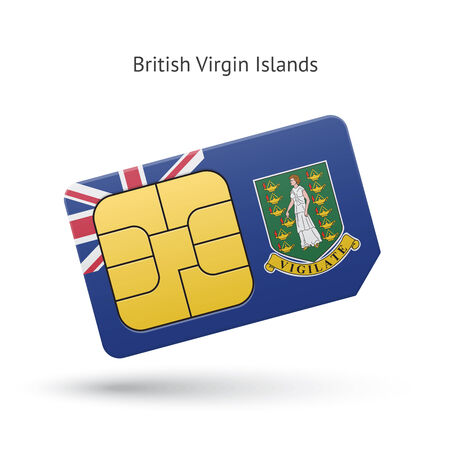 British Virgin Islands mobile phone sim card with flag. Vector illustration. Vector