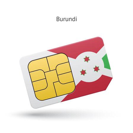 Burundi mobile phone sim card with flag. Vector illustration.