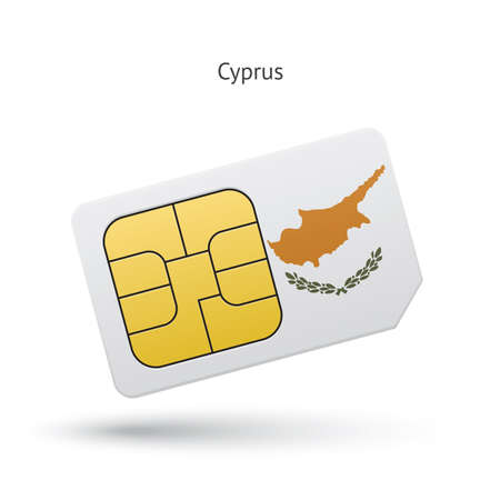 Cyprus mobile phone sim card with flag. Vector illustration. Vector