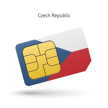 simcard: Czech Republic mobile phone sim card with flag. Vector illustration.