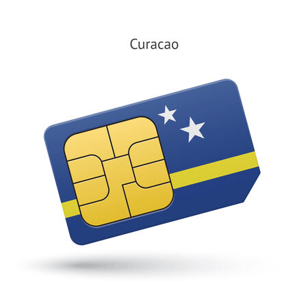 simcard: Curacao mobile phone sim card with flag. Vector illustration. Illustration