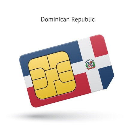 gsm phone: Dominican Republic mobile phone sim card with flag. Vector illustration.
