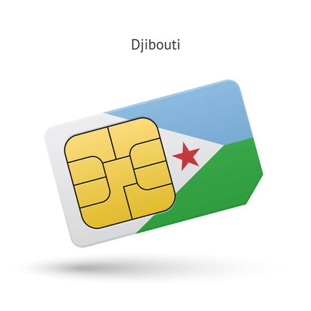 Djibouti mobile phone sim card with flag. Vector illustration. Vector