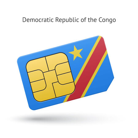democratic republic of the congo: Democratic Republic of the Congo phone sim card with flag. Vector illustration. Illustration