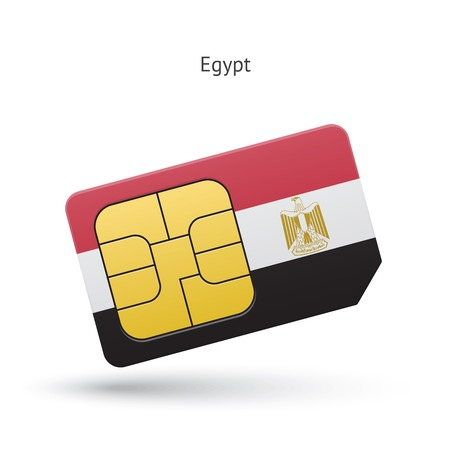 Egypt mobile phone sim card with flag. Vector illustration. Vector