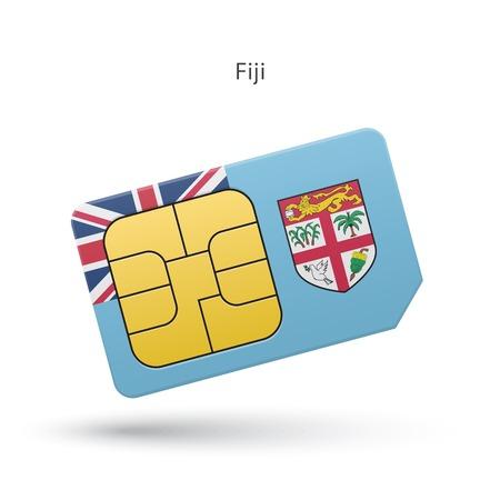 fiji: Fiji mobile phone sim card with flag. Vector illustration. Stock Illustratie