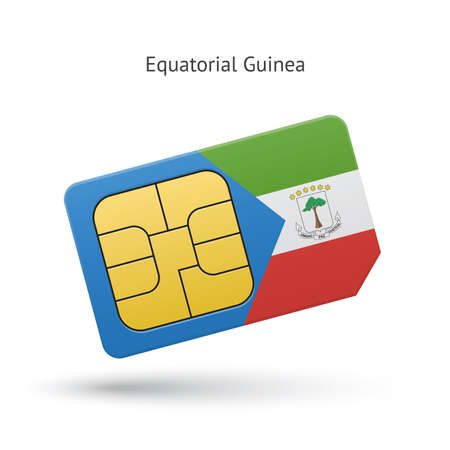 Equatorial Guinea mobile phone sim card with flag. Vector illustration. Vector