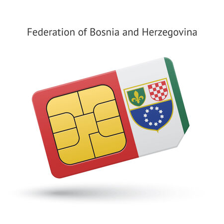 Federation of Bosnia and Herzegovina phone sim card with flag. Vector illustration. Vector
