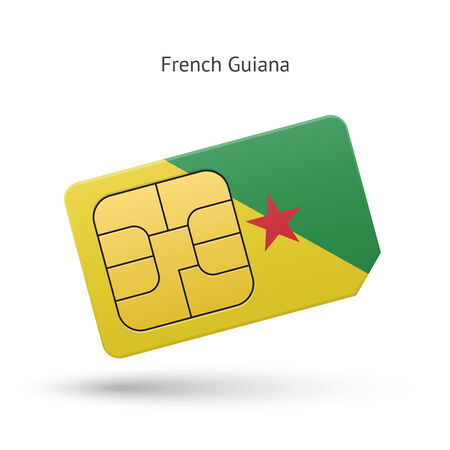 french guiana: French Guiana mobile phone sim card with flag. Vector illustration. Illustration