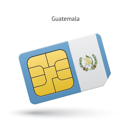 Guatemala mobile phone sim card with flag. Vector illustration. Vector