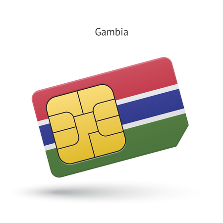 Gambia mobile phone sim card with flag. Vector illustration. Vector