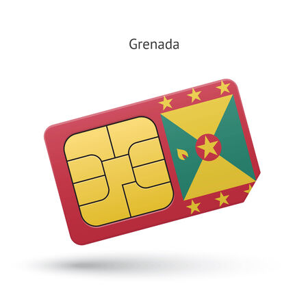 Grenada mobile phone sim card with flag. Vector illustration. Vector