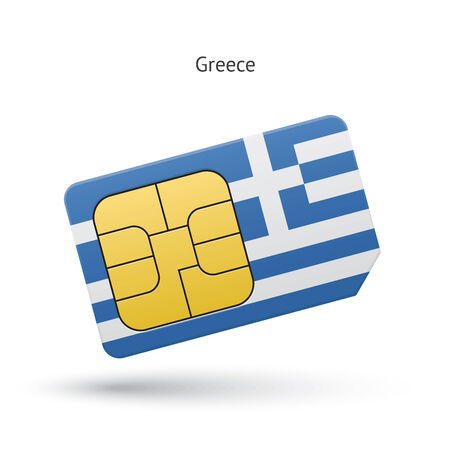 Greece mobile phone sim card with flag. Vector illustration. Vector