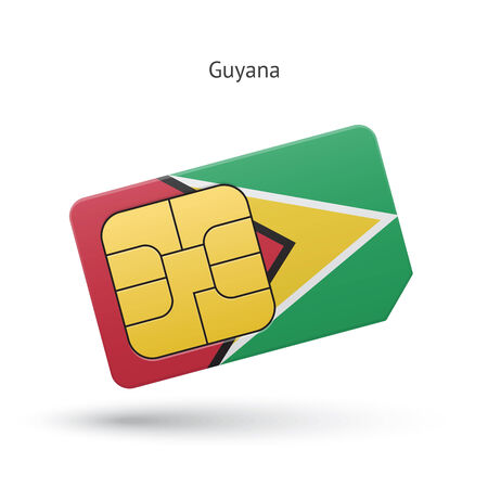 Guyana mobile phone sim card with flag. Vector illustration. Vector