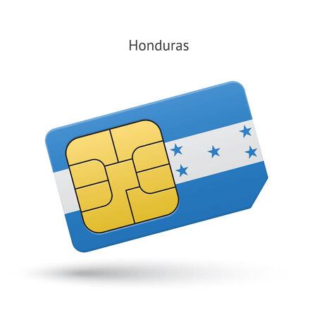 simcard: Honduras mobile phone sim card with flag. Vector illustration.