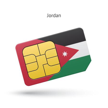 simcard: Jordan mobile phone sim card with flag. Vector illustration.