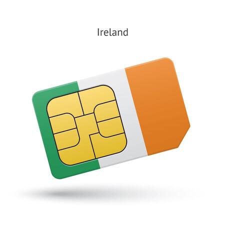 simcard: Ireland mobile phone sim card with flag. Vector illustration.