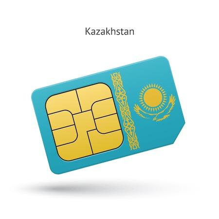 Kazakhstan mobile phone sim card with flag. Vector illustration. Illustration