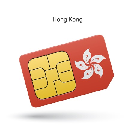 Hong Kong mobile phone sim card with flag. Vector illustration.