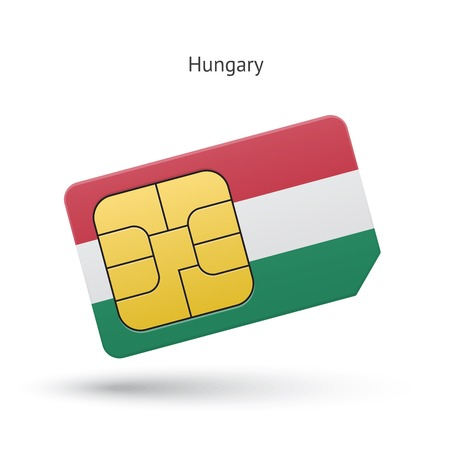 Hungary mobile phone sim card with flag. Vector illustration. Vector