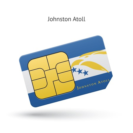 Johnston Atoll mobile phone sim card with flag. Vector illustration. Vector