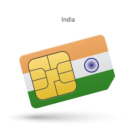 India mobile phone sim card with flag. Vector illustration. Illustration