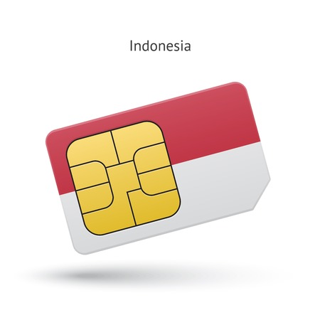 Indonesia mobile phone sim card with flag. Vector illustration.