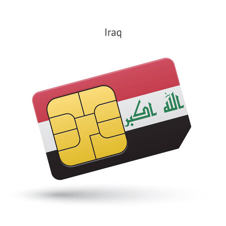Iraq mobile phone sim card with flag. Vector illustration.