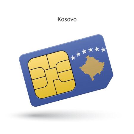 Kosovo mobile phone sim card with flag. Vector illustration.