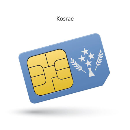 Kosrae mobile phone sim card with flag. Vector illustration. Vector