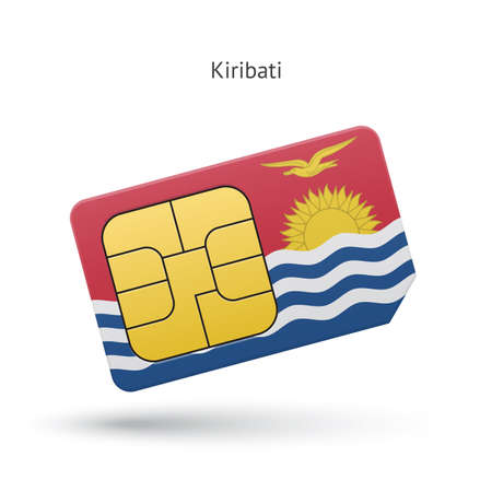 Kiribati mobile phone sim card with flag. Vector illustration. Vector