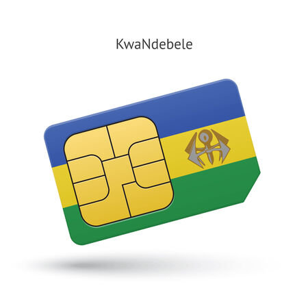 KwaNdebele mobile phone sim card with flag. Vector illustration. Vector