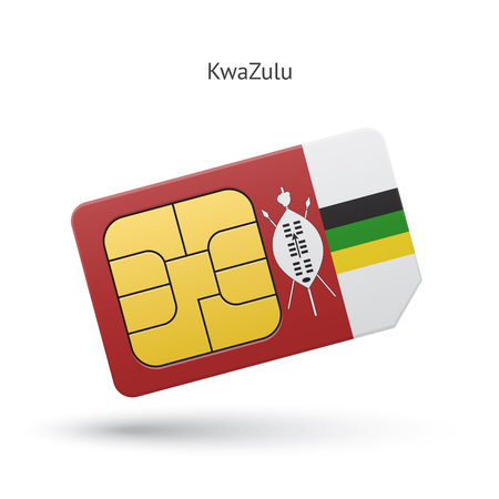 KwaZulu mobile phone sim card with flag. Vector illustration. Vector