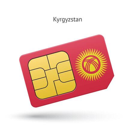 sim card: Kyrgyzstan mobile phone sim card with flag. Vector illustration.