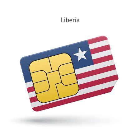 Liberia mobile phone sim card with flag. Vector illustration. Vector