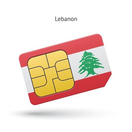 Lebanon mobile phone sim card with flag. Vector illustration. Illustration