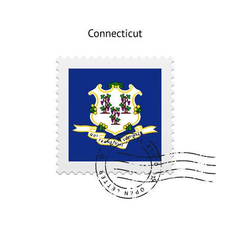 cliche: Estado de Connecticut bandera sello sobre fondo blanco. Ilustraci�n del vector. Vectores