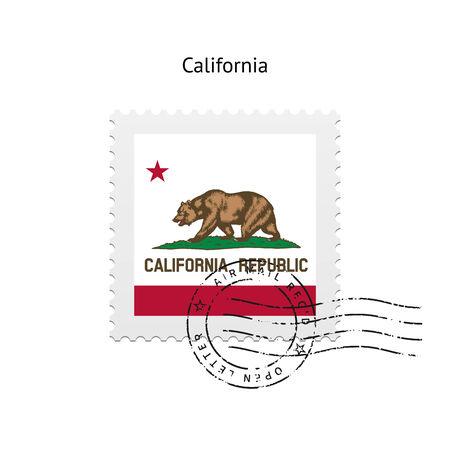 cliche: Estado de California sello de correos de la bandera en el fondo blanco. Ilustraci�n del vector.